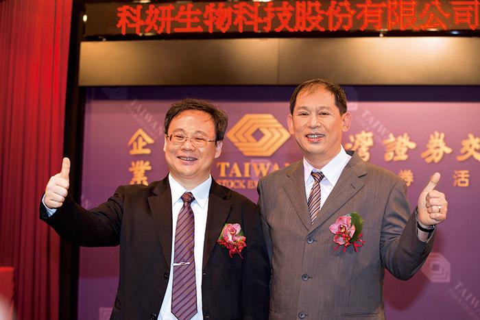 在董事長韓開程(右)及總經理韓台賢(左)領導下,科妍在玻尿酸研發成就已達世界級水準。