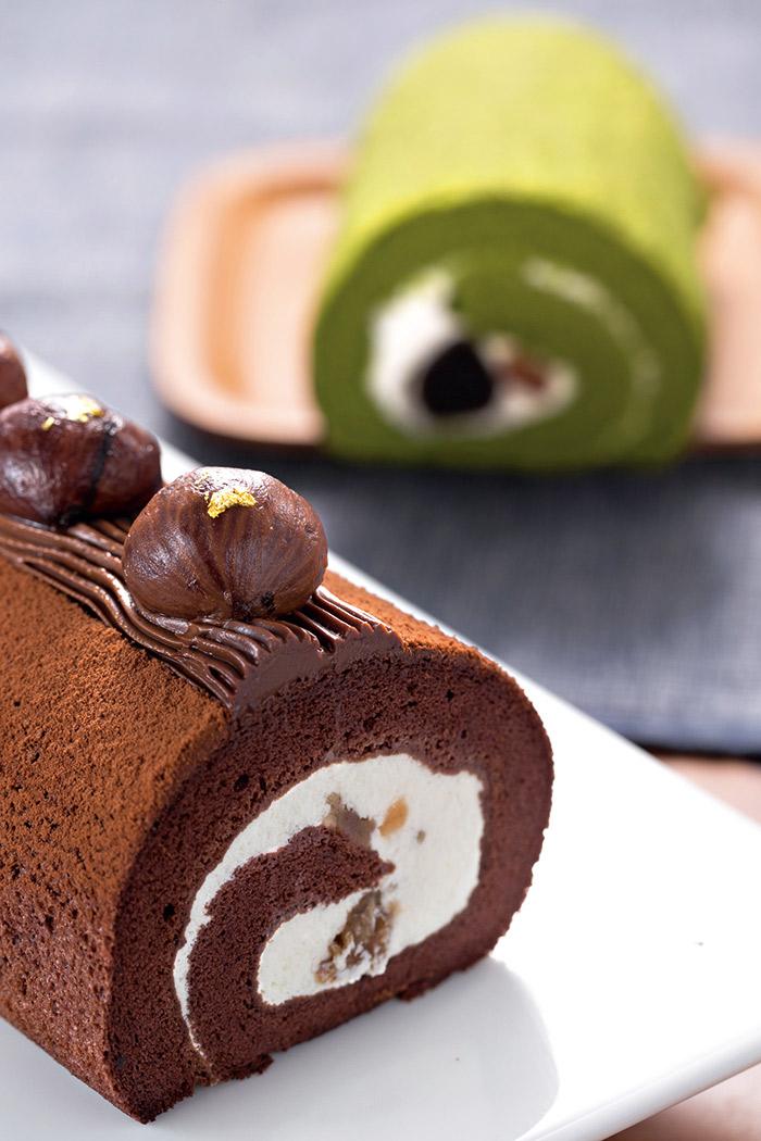夢卡朵的法式栗子 捲(前)與京都抹 茶捲,是最適合秋 季的選擇。