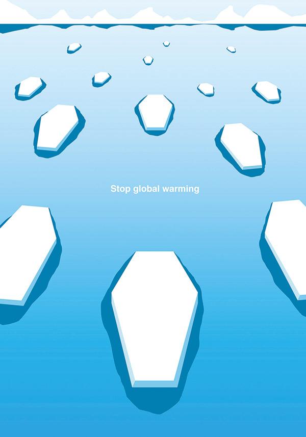 作品名稱:《Stop global warming》         將融冰化為一具具棺木,藉此對地球暖化提出警告。