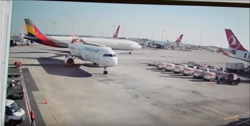 韓亞航空意外!客機滑行 「撞斷」土航尾翼