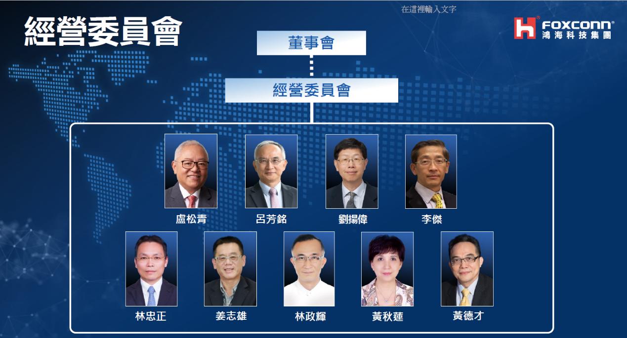 鴻海9人經營委員會名單出爐