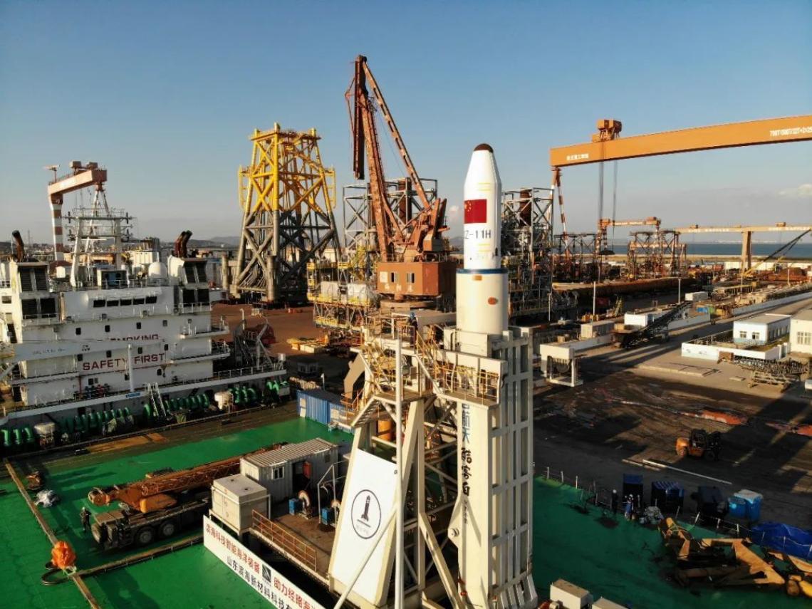 中國發射長征「長十一火箭」  標註「從中國台灣島上空飛過」