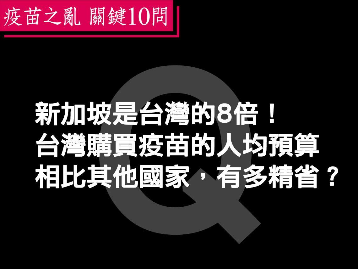 新加坡是台灣的8倍!一文解析:台灣購買疫苗的人均預算相比其他國家,有多精省?
