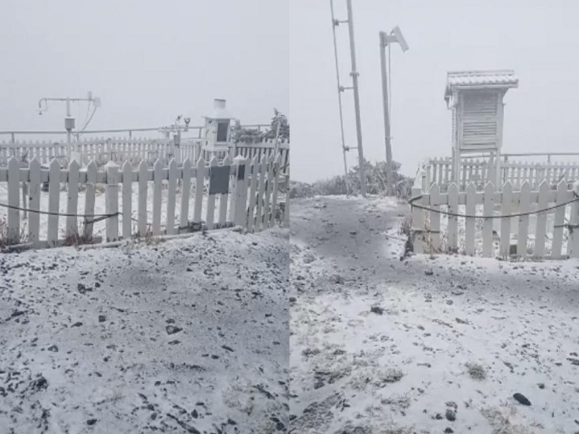 追雪囉!玉山今早降下初雪 合歡山也飄雪了