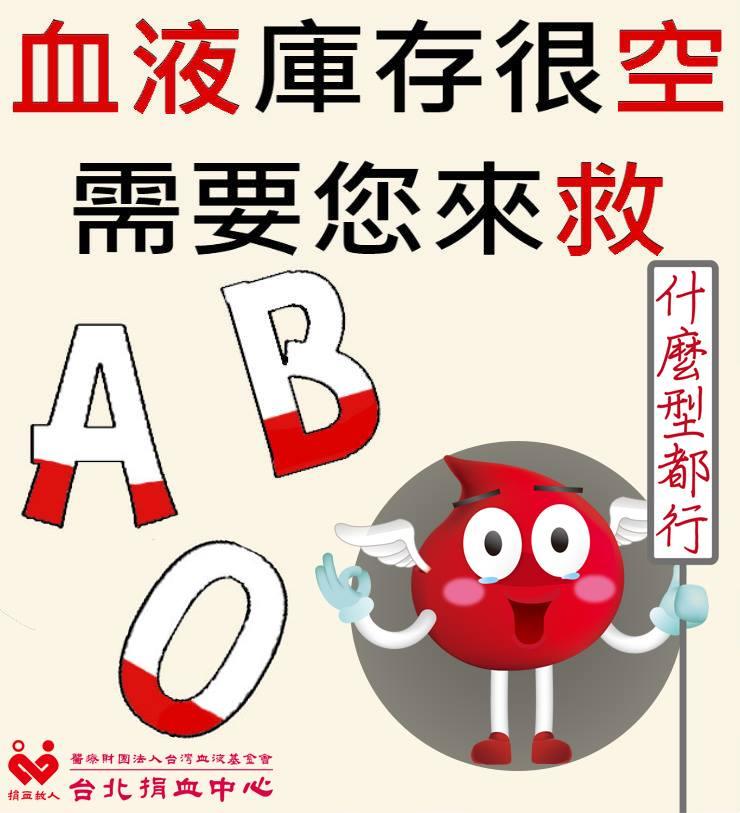 目前全台平均血液庫存量僅剩4.7天,其中,台北平均血液庫存更僅剩2.6天,血液基金會呼籲大家挽袖捐血。