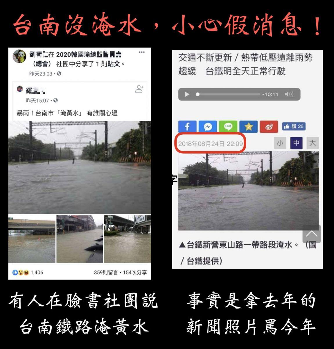 台南「淹黃水」?市府澄清:假消息,拿去年照片罵今年 將依法提出告訴