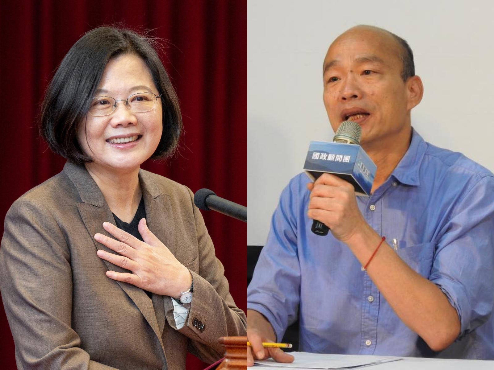 聯合報民調/藍綠對決 蔡45%韓33%