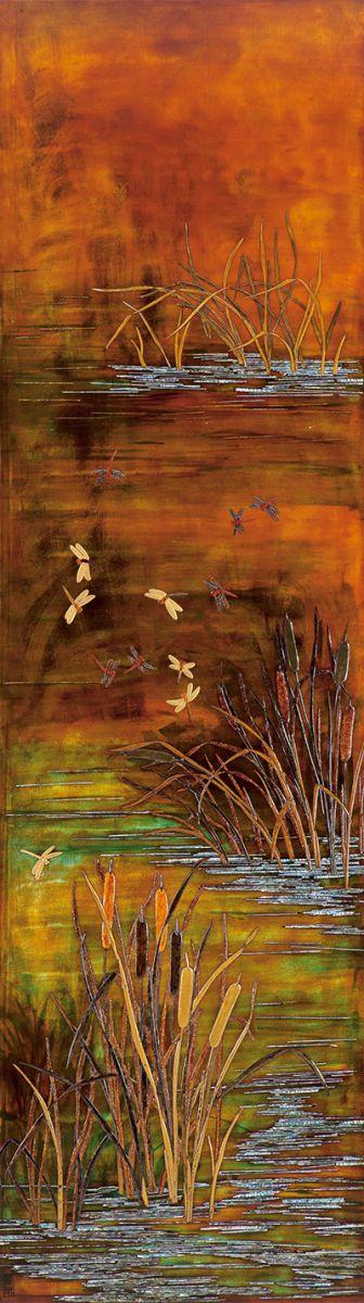 秋暮深岸蜻蜓舞