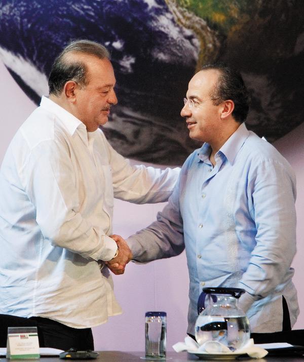 斯利姆(左)總統卡爾德隆(右)