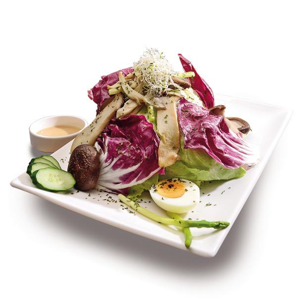 溫熱野菇水波蛋沙拉