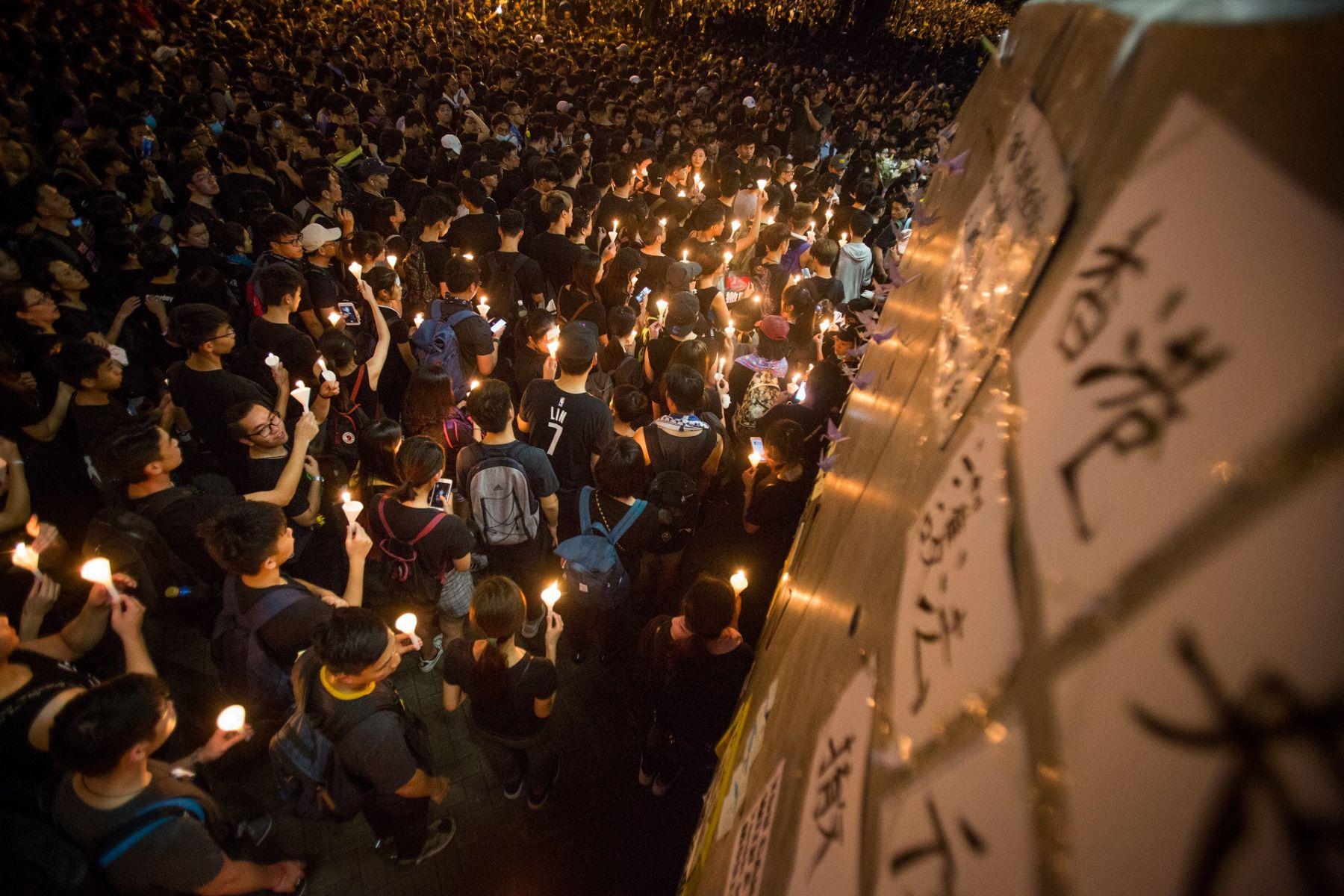 香港人引以為傲的言論自由如今早已蒙上了一層灰照片顯示為反送中遊行現場