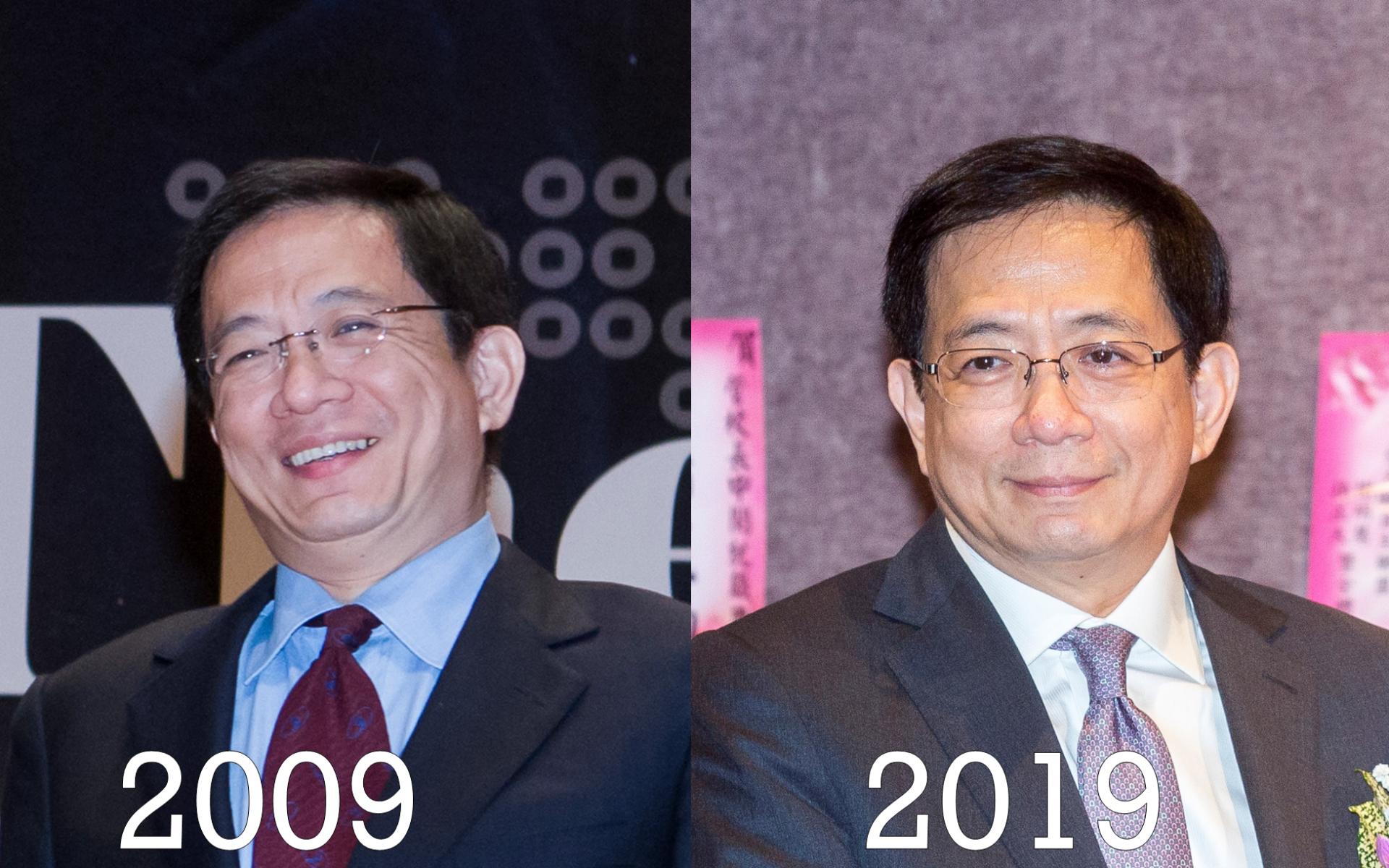 台大校長管中閔10年前與10年後的照片沒有什麼改變。