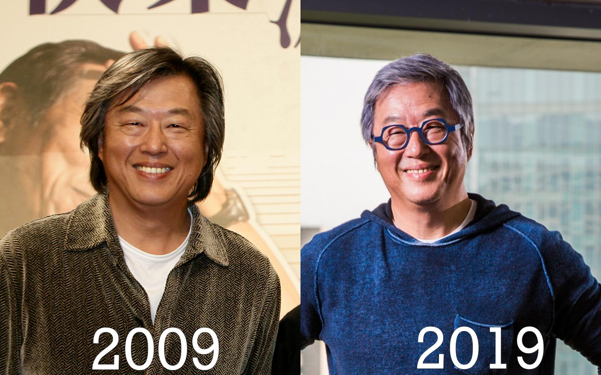 知名製作人王偉忠10年前後的照片除了髮型略有改變外,其他也沒有太大差異。