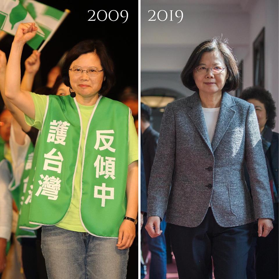 蔡英文身穿寫有「反傾中、護台灣」的背心,被網友讚是始終如一的「辣台派」。