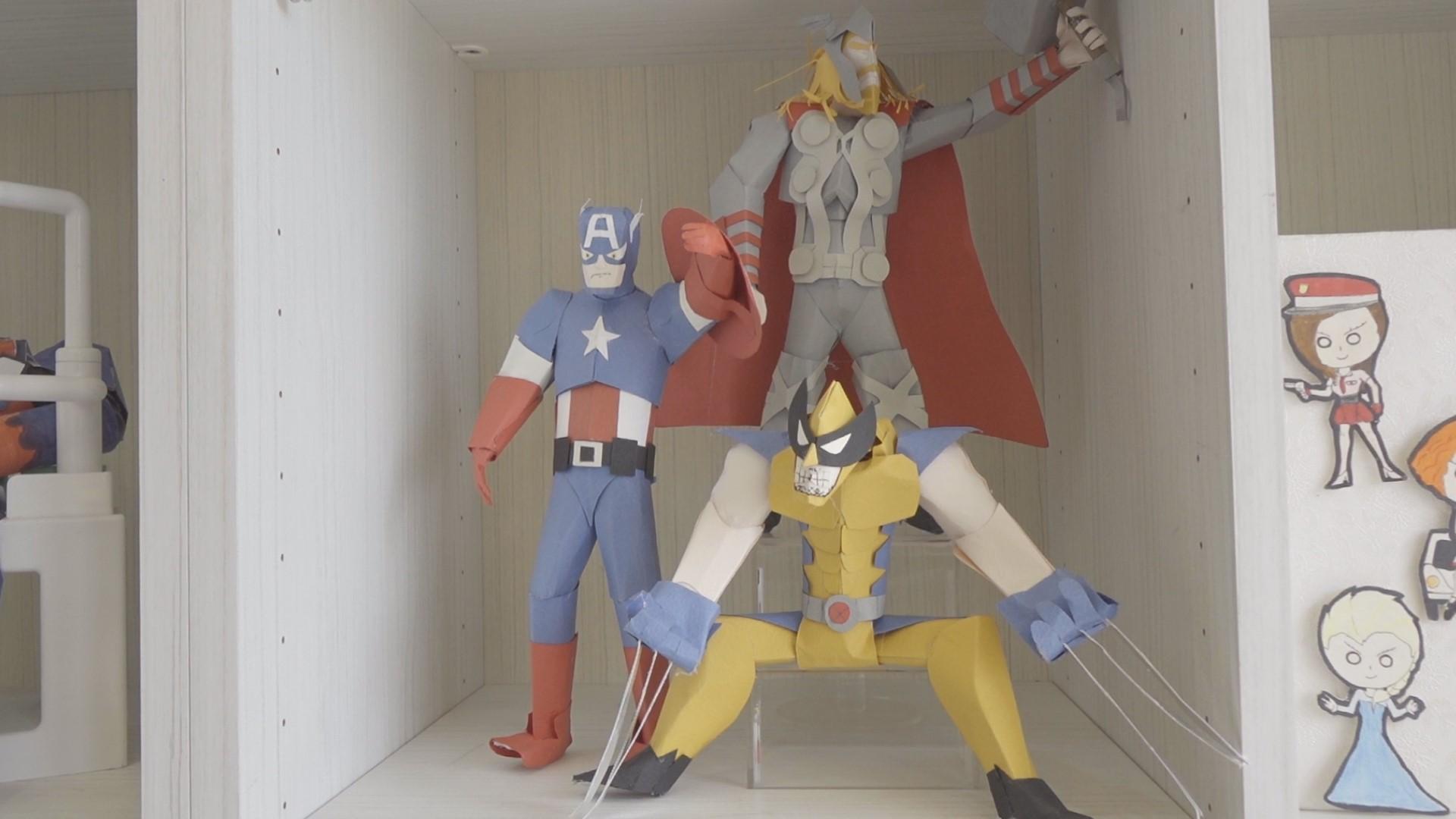 謝寧的美國隊長、雷神索爾、金鋼狼紙雕作品